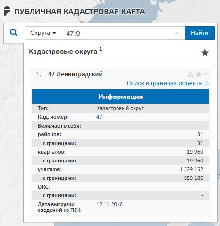 Публичная кадастровая карта - Информация о Ленинградском кадастровом округе