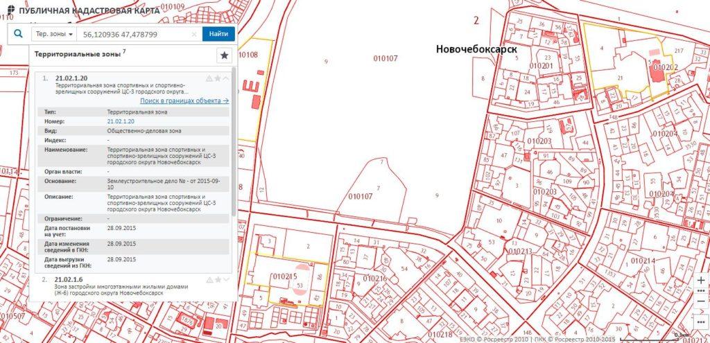 Публичная кадастровая карта - Информация о территориальных зонах