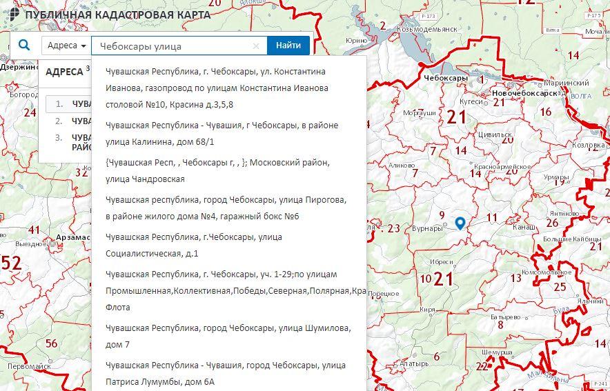 Публичная кадастровая карта - Поиск по адресу