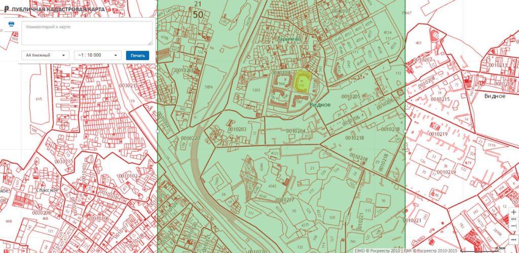 Печать Публичной кадастровой картой Московской области