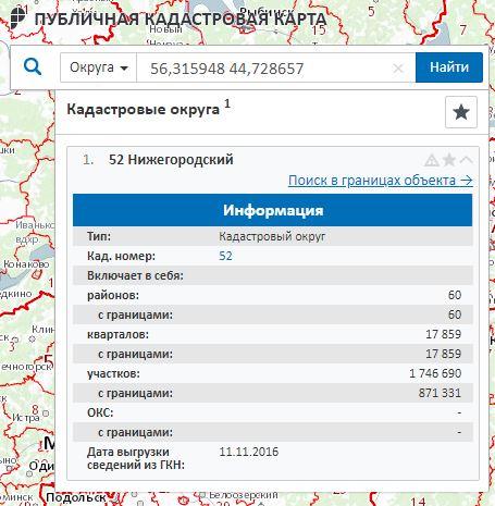 Публичная кадастровая карта - Информация о Нижегородском кадастровом округе