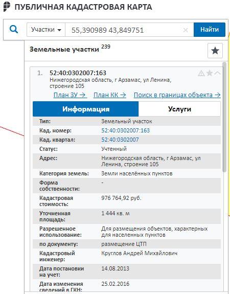 Публичная кадастровая карта Нижегородской области - Информация об участке