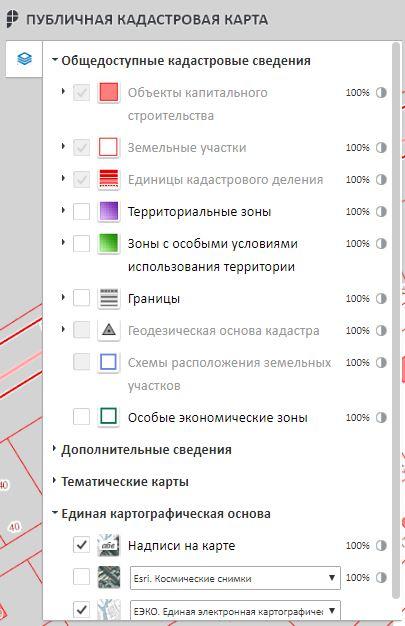 Публичная кадастровая карта РФ - Управление картой