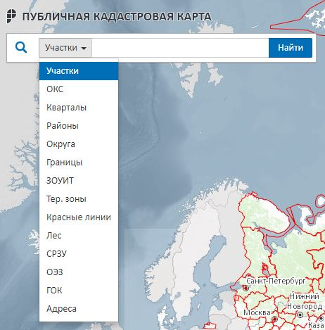 Публичная кадастровая карта Росреестра - Поиск