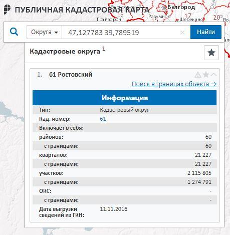 Публичная кадастровая карта - Информация о Ростовском кадастровом округе