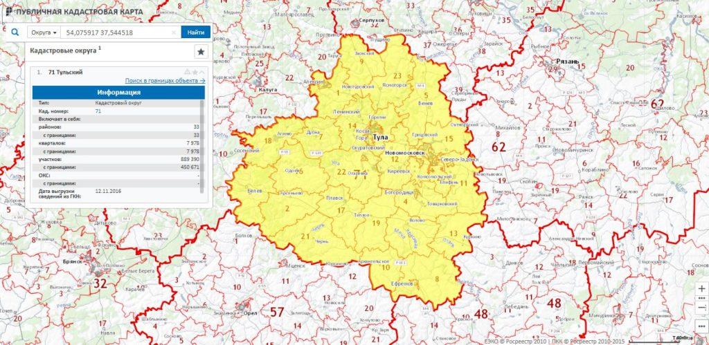 Публичная кадастровая карта Тульской области